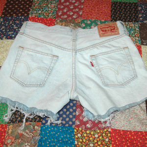 "LEVI 501 Jean Shorts Factory Distressed 24"" Waist"